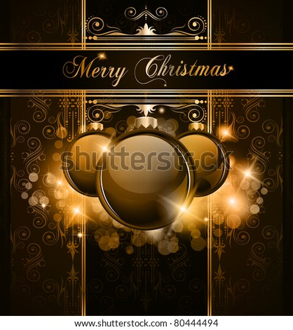 Elegant Merry Christmas and Happy New Year background with vintage seamless wallpaper and glossy baubles. - stock photo