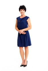 elegant middle aged woman in blue dress full length portrait isolated on white