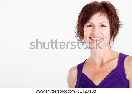 elegant middle aged woman isolated on white - stock photo