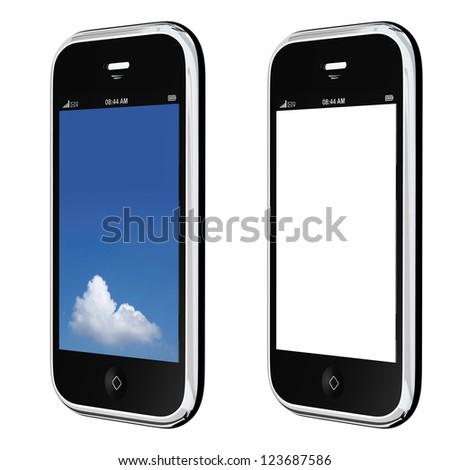 Elegant mobile phone, isolated on white
