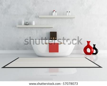 elegant modern bathroom with fashion bathtub - rendering - stock photo