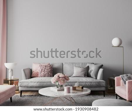 Elegant modern living room design, wall mockup in pink and gray home decor, 3d render, 3d illustration