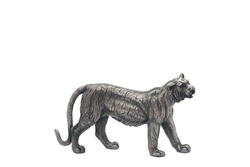 Elegant, Modern Silver Steel Tiger on Isolated White Background