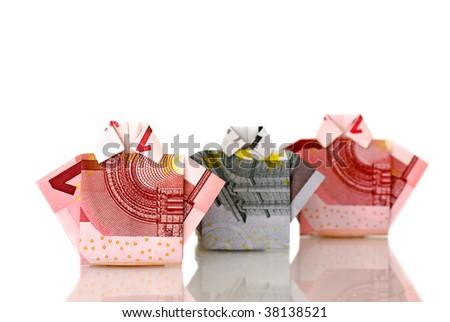 Elegant money from euro - stock photo