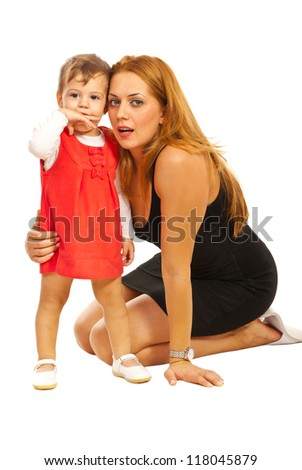 Elegant mother and girl sitting on floor isolated on white background