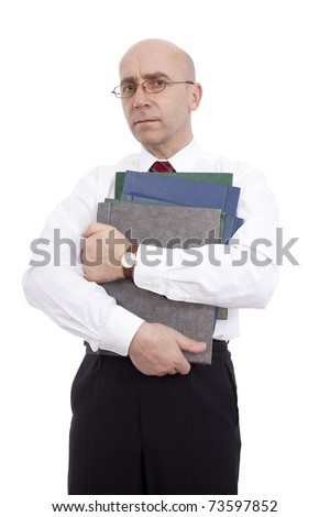 elegant official with documents on white background