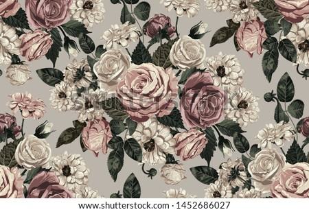 Elegant pattern of blush toned rustic flowers isolated in a solid background great for textile print, background, handmade card design, invitations, wallpaper, packaging, interior or fashion designs. Stockfoto ©