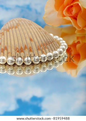 Elegant pearls over glass with clouds, shell, and rose very shallow depth of field