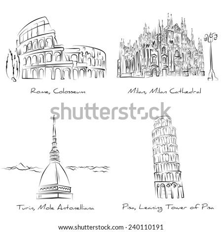 Elegant pen / pencil hand-draw of Italian famous places of interest (Colosseo - Rome, Mole Antonelliana - Turin, Torre di Pisa - Pisa, Duomo di Milano - Milan)