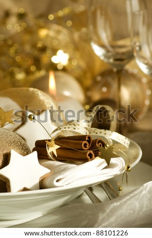 Elegant place setting for christmas holiday dinner