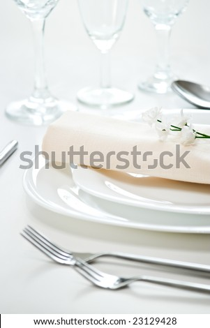 elegant place setting with shallow depth of field