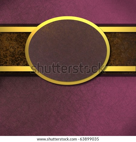 Elegant purple background with texture and gold trim and copy space