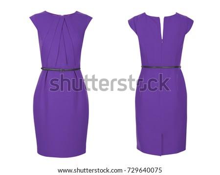 Elegant purple ladies short sleeve designer party dress isolated on white background front and back images