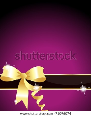 Elegant purple ribbon and purple background