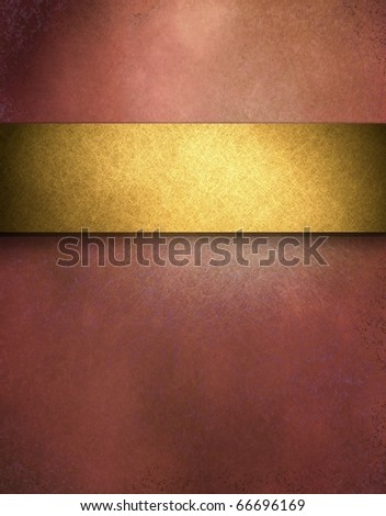 elegant red distressed background with texture and highlight, rich gold ribbon stripe in graphic art design layout for copy space to add your own text or title
