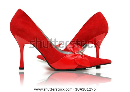 Elegant red shoes on the white