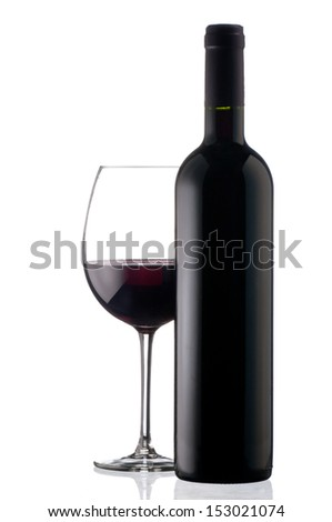 Elegant red wine glass and a wine bottle in white background