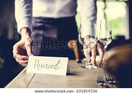 Elegant Restaurant Table Setting Service for Reception with Reserved Card #631859336