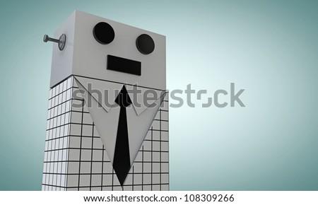 elegant robot with black tie