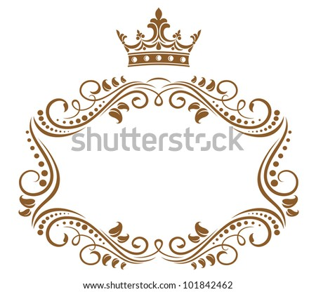 Elegant royal frame with crown isolated on white background. Vector version also available in gallery