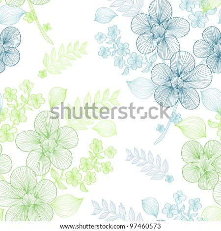 elegant seamless pattern with beautiful green and blue flowers for your design - stock photo