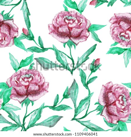 Elegant seamless pattern with  watercolor peony flowers, design elements. Floral pattern for invitations, greeting cards, scrapbooking, print, gift wrap, manufacturing, textile.  #1109406041