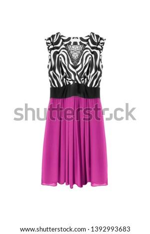 e328d27d10 Elegant silk mini dress with pink skirt on white background #1392993683