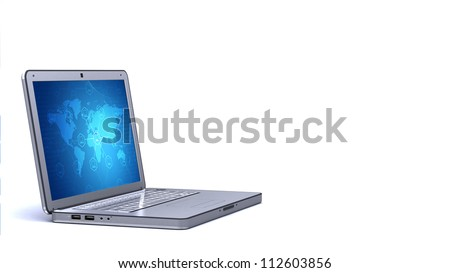 Elegant Silver / chrome laptop posing on the left of the layout with worldwide connection concept on screen. Isolated in white.You can easily change its screen to suit your needs