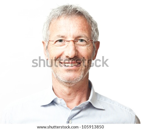 Elegant smiling mature man portrait wearing a pair of glasses isolated on white background