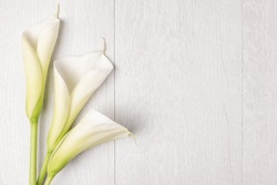 Elegant spring flower, calla lily on rustic wooden table. For wedding background image. Top view with copy space