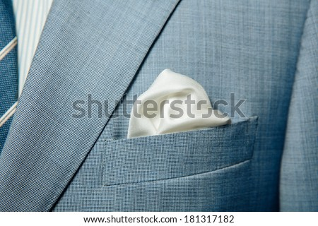 elegant stylish jacket and handkerchief in the pocket