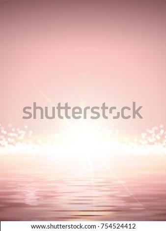 Elegant Sun rise scene, shimmering ocean and bright sun light in pink tone - Shutterstock ID 754524412