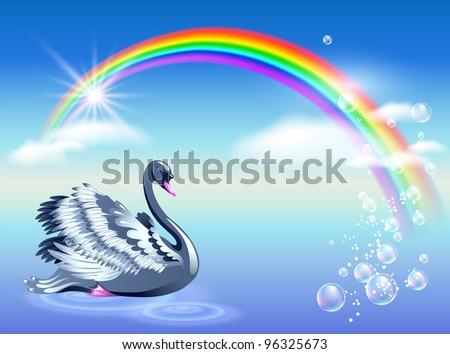 Elegant swan and rainbow. Raster version of vector.