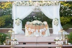 Elegant sweetheart table at a wedding