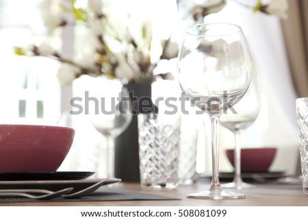 Elegant table set up for dinning room