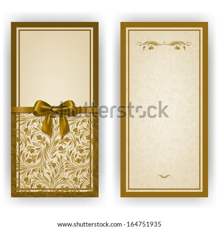 Elegant template luxury invitation card with lace ornament bow place for text Floral elements ornate background