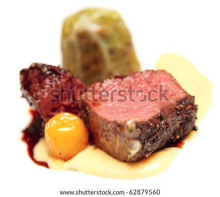 Elegant tenderloin steak with cabbage and potato mash