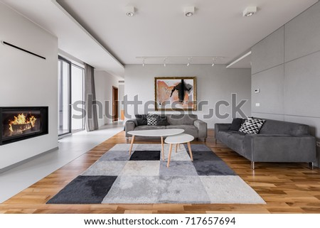 Shutterstock Elegant villa living room with fireplace, two couches and carpet