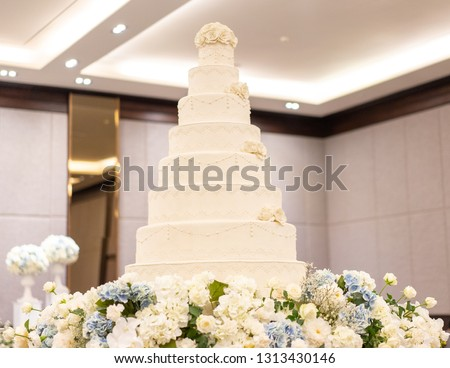 Elegant wedding cake and  .closed up blur background.