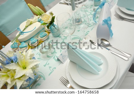 Elegant wedding decoration in restaurant