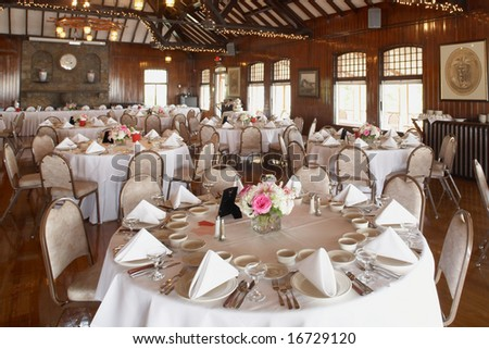 stock photo Elegant wedding reception area ready for guests and the party