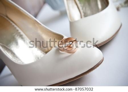 Elegant wedding shoes composition