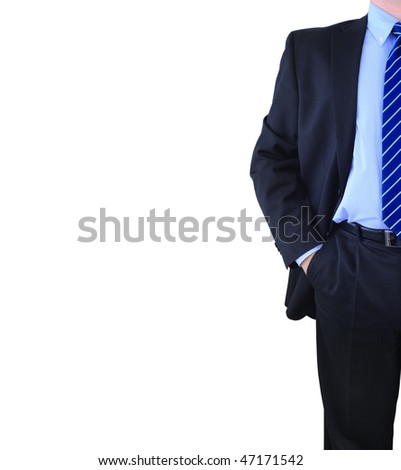 Elegant well-dressed businessman isolated over white