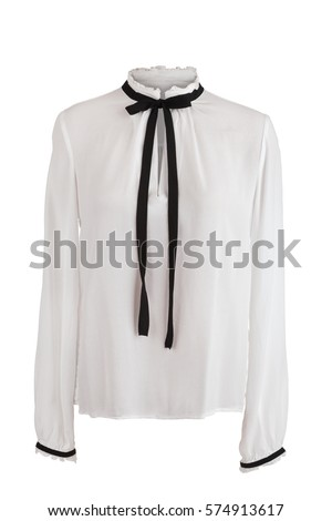 Elegant white blouse with frills around the collar and sleeves, isolated on white