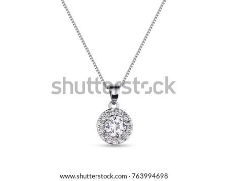 Elegant white gold necklace with diamonds on white background, jewelry Сток-фото ©