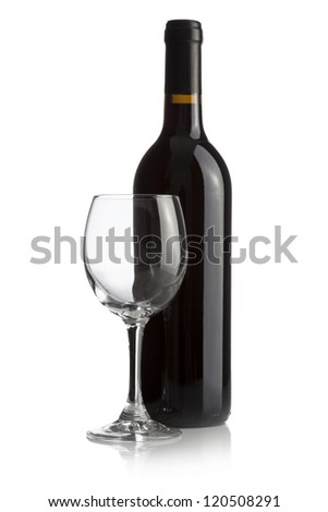 Elegant wine bottle and wine glass isolated on a white background