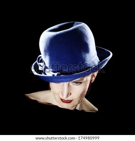 Elegant woman in hat fashion portrait. Senior woman 60 years old in retro style