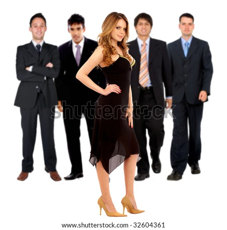 elegant woman standing and some men behind her isolated