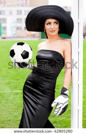 Elegant woman with Football ball