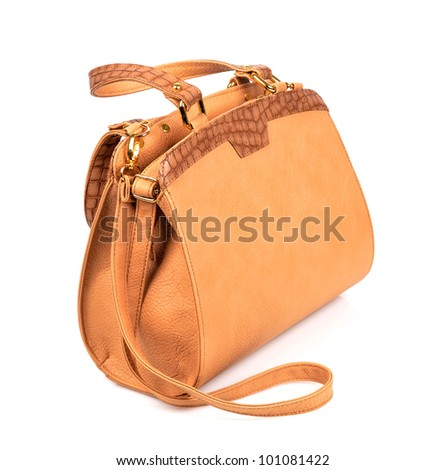 Elegant women bag isolated over white - stock photo